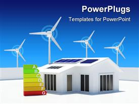 PowerPoint template displaying eco friendly house with solar panels with windmills in background and energy class chart near the house