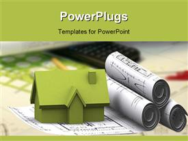 PowerPoint template displaying green 3D rendering of house sitting of architectural designs with pen and calculator
