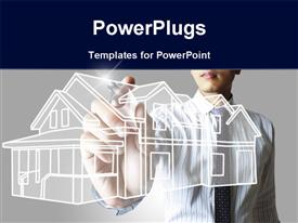 PowerPoint template displaying architect drawing blueprint of a house