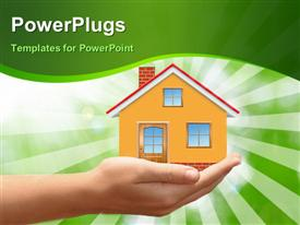 PowerPoint template displaying hand holding house in palm over green themed background