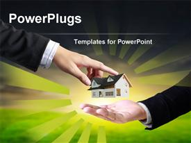 PowerPoint template displaying a person handing the house model to the other