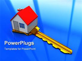 PowerPoint template displaying a large gold colored key under a small house