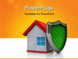 PowerPoint template displaying house protected by shield in the background.