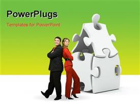 PowerPoint template displaying house made out of jigsaw puzzle pieces with couple backing each other