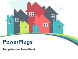 PowerPoint template displaying house or real estate depiction in the background.