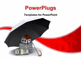 PowerPoint template displaying umbrella protecting house and stack of dollar bills depicting real estate business
