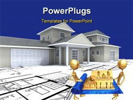 PowerPoint template displaying 3D-rendering of a big expensive-looking house on top of architecture blueprints