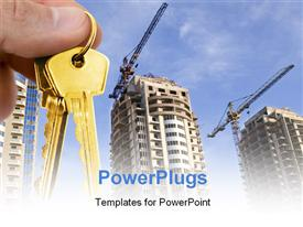 PowerPoint template displaying real estate depiction with hand holding gold key over construction site