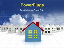 PowerPoint template displaying blue outstanding 3D houses with sky and cloud background