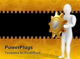 PowerPoint template displaying white 3D figure holding golden and silver gear in hands as a shield on mechanical gear golden and black background