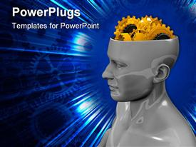 PowerPoint template displaying figure of man with open head with gears instead of brains