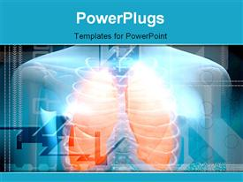 PowerPoint template displaying human body and lungs in color