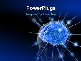 PowerPoint template displaying brain is being energized through the strings. The concept of intelligence in the background.