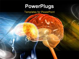 Brain in color background powerpoint design layout