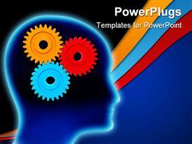 Cogwheels resembling to a human brain working powerpoint template