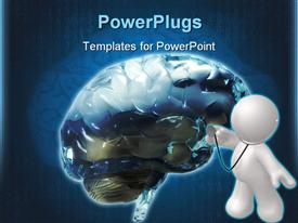 PowerPoint template displaying color 3D front view of the human brain