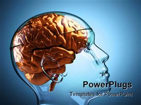 Glass human head with brain ,this is a template for powerpoint