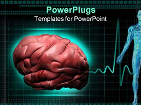 PowerPoint template displaying close up of human brain, half of human body anatomy and cardiogram in the background