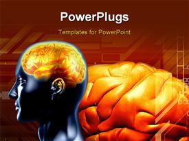 PowerPoint template displaying human brain in brown color background