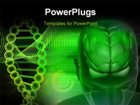 PowerPoint template displaying human brain and DNA in green color in the background.