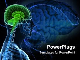 PowerPoint template displaying a transparent body with healthy brain