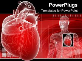 PowerPoint template displaying 3D heart depiction and digital human body representation with enlarged envisioning of human heard on red medical related background