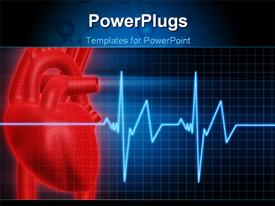 PowerPoint template displaying anatomy depiction of a human red heart and ECG graph over blue background