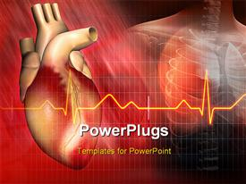 PowerPoint template displaying heart and ECG rays with human skeleton in background
