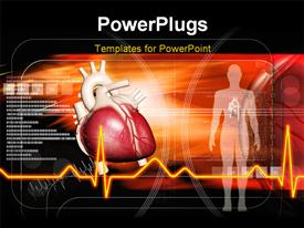 PowerPoint template displaying human body and heart in color background