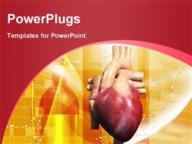 PowerPoint template displaying human heart in color background