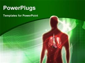 PowerPoint template displaying human anatomy with lungs over green background