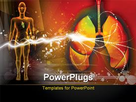 PowerPoint template displaying human lungs and human body with rays in color background