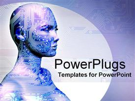 PowerPoint template displaying human machine in the background.