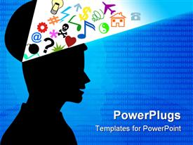 PowerPoint template displaying black silhouette of human head with opened top of head with various colorful symbols coming out of the head representing human mind