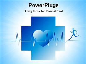 PowerPoint template displaying an athlete running along with his heartbeat and figure of heart in the middle