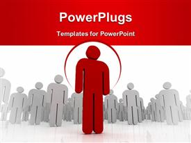 One 3D person stands out of the crowd - dramatic angle powerpoint theme