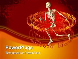 PowerPoint template displaying a skeleton running away from a circle of binary numbers