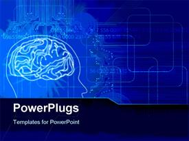 PowerPoint template displaying a human brain with bluish background