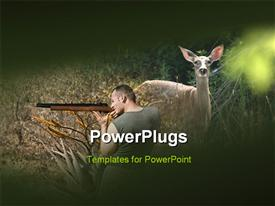 PowerPoint template displaying a hunter and a deer with jungle in background