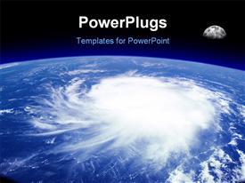 PowerPoint template displaying view from space of a giant hurricane over the ocean with moon in background