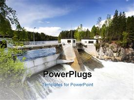 PowerPoint template displaying hydro electric plant on a river in the background.