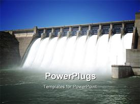 PowerPoint template displaying water pouring through flood gates of dam with sky in background