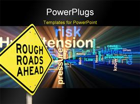 PowerPoint template displaying road sign reads rough roads ahead with safety texts