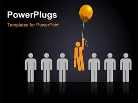 PowerPoint template displaying a number of people with one holding the balloons