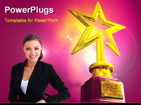 PowerPoint template displaying young smiling girl and Gold star award with The Best keyword over glowing background