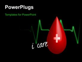 PowerPoint template displaying a blackish background with a blood drop and a heartbeat line