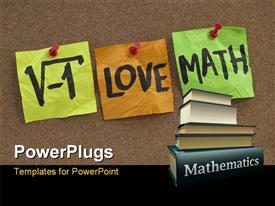 PowerPoint template displaying i love math humorous concept with mathematics books