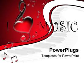 White background with notes and text I Love Music powerpoint theme