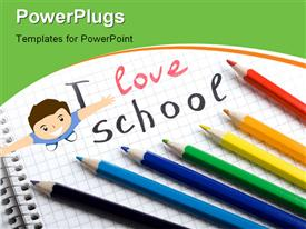 PowerPoint template displaying back to school background with colorful pencils in the background.
