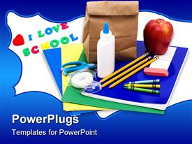 PowerPoint template displaying bunch of school supplies with paper bag lunch back to school